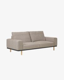 Sofá Noa de 3 plazas beige con patas acabado natural 230 cm