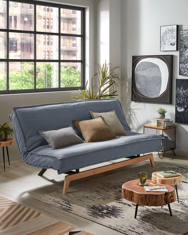 Eveline sofa bed in blue with a wooden frame 195 cm