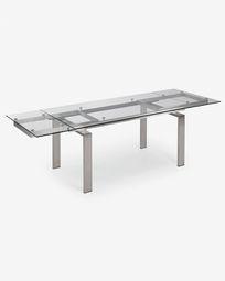 Mesa extensible Nara 160 (240) x 85 cm cristal y acero inoxidable
