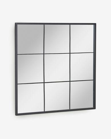 Miroir mural Ulrica métal noir 80 x 80cm