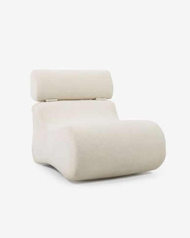 Club armchair in white shearling