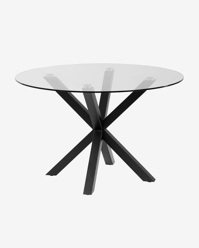 Full Argo round Ø 119 cm glass table with steel legs with black finish