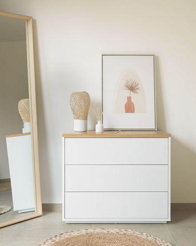 Commode Abilen contreplaqué de chêne et laqué en blanc 90 x 75 cm FSC 100%