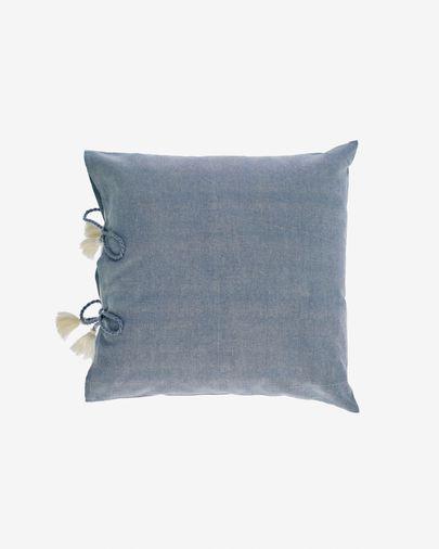 Housse de coussin Varina 100% coton gris 45 x 45 cm