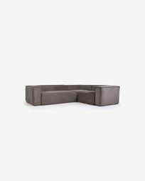Blok 3-seater corner sofa in grey corduroy, 290 x 230 cm