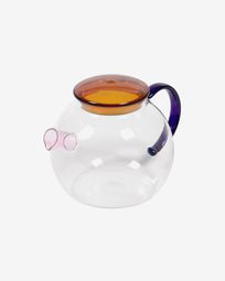 Dusnela teapot in transparent and multicolor glass