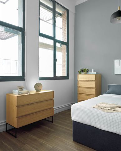 Taiana chest of drawers with oak veneer and steel frame with black finish 100 x 78 cm