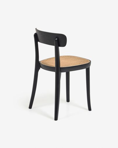 Romane solid beech chair in black with ash veneer and rattan