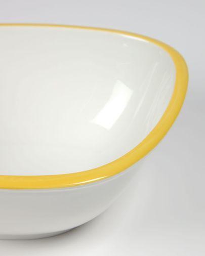 Grote porseleinen kom Odalin in geel en wit
