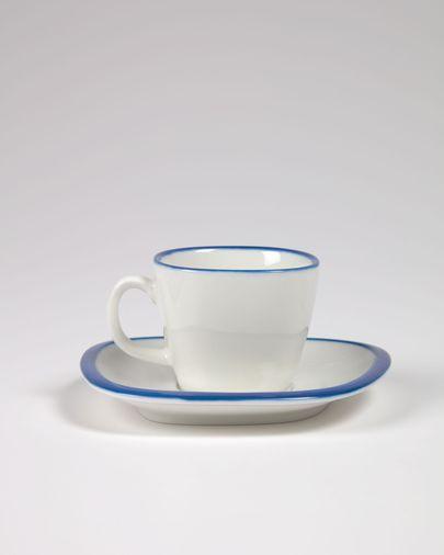 Porseleinen koffiekop Odalin in blauw en wit