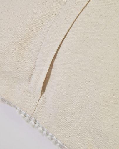 Funda cojín Aima beige y blanco 45 x 45 cm