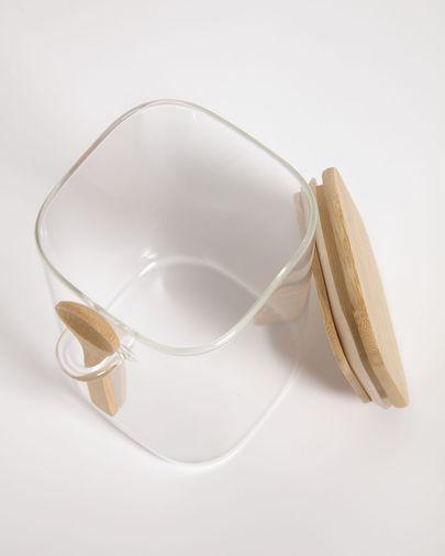 Bote grande Ilaria con cuchara de vidrio transparente y madera de bambú