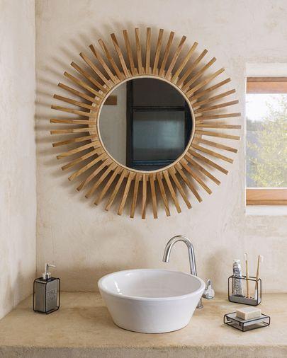 Espejo redondo Ena madera maciza teca Ø 79 cm
