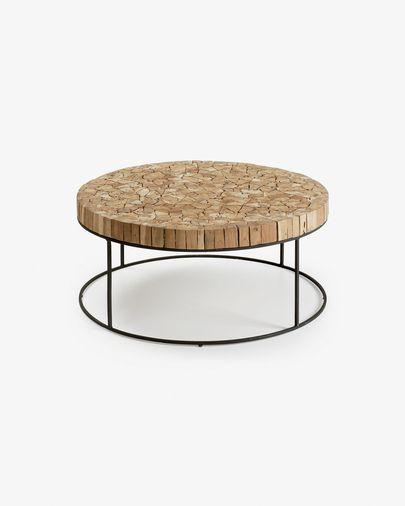 Mesa de centro Solo madera maciza de teca reciclada y acero acabado negro Ø 80 cm