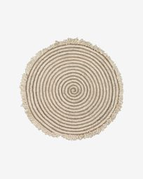 Gisel round jute and cotton rug 120 cm