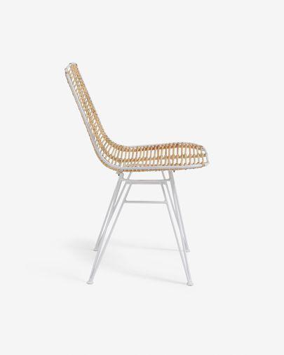 Tishana chair rattan and white steel finish