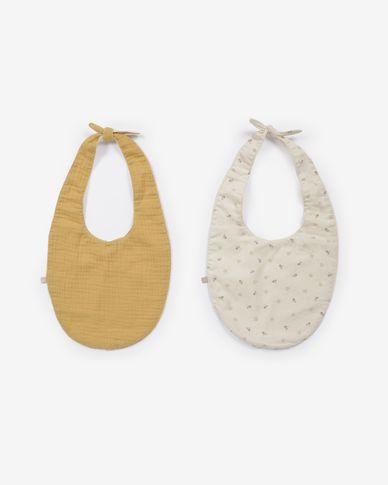 Yamile set van 2 slabbetjes biologisch katoen GOTS in mosterd en beige gekleurde bladeren