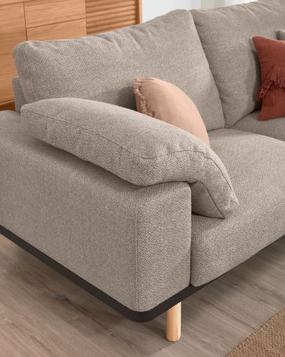 Noa beige 3-seater sofa with pillows and natural finishing legs 230 cm
