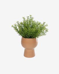 Myriophyllum artificial plant with pink ceramic planter 21.6 cm