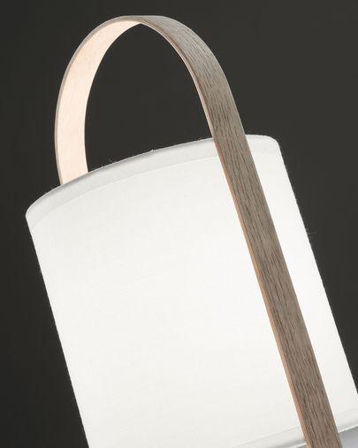 Lámpara de sobremesa Zayma de madera de haya y algodón blanco