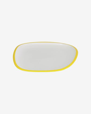 Odalin porcelain dinner plate in yellow and white