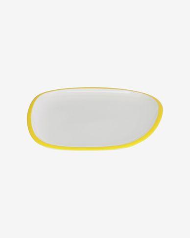 Piatto piano Odalin in porcellana bianca e giallo