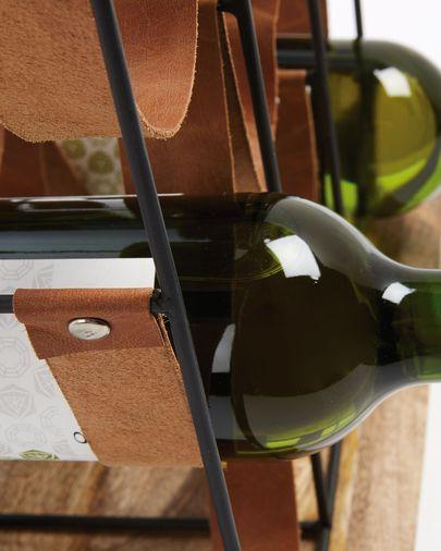 Botellero Mucia madera maciza mango acero y piel