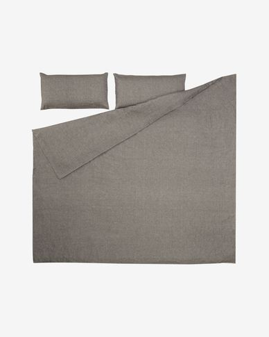 Komplet Eglantina prześcieradło i poszwa na kołdrę i poduszkę bawełna szary 220 x 220 cm