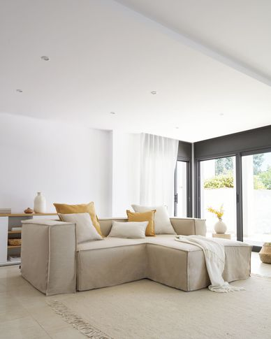 Blok 2-seater sofa with right-hand chaise longue and removable covers in beige linen 240cm