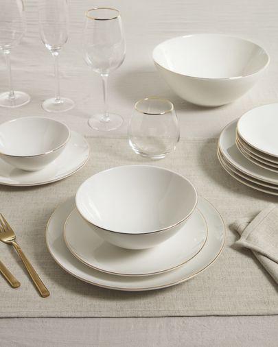 Bol grande Taisia de porcelana blanco