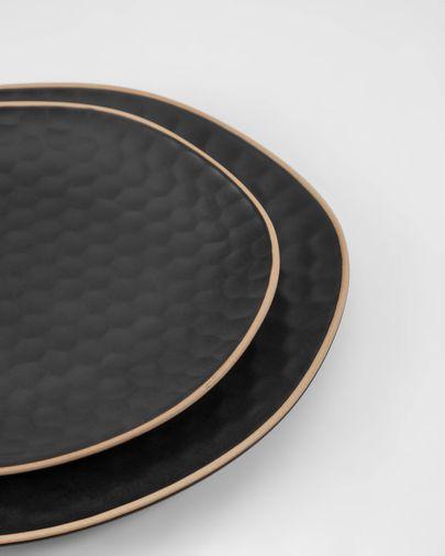Piatto piano Manami in ceramica nera