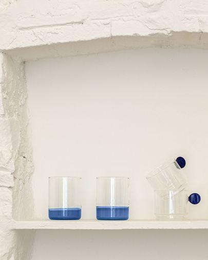 Vaso Murielle vidrio transparente y azul