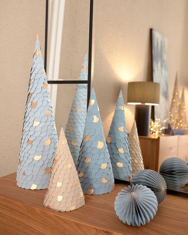 Kerstbomen Venetia set van 3 in blauw - 20 cm 30 cm 45 cm