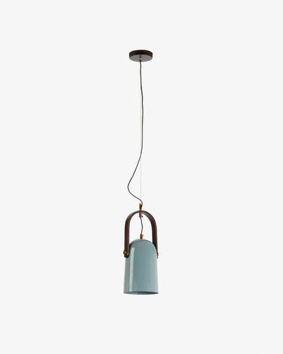 Lámpara de techo Zanie de madera de mango y acero con acabado azul