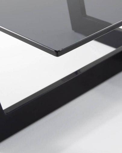 Mesa de centro Plam cristal negro y estructura de acero acabado negro 120 x 70 cm
