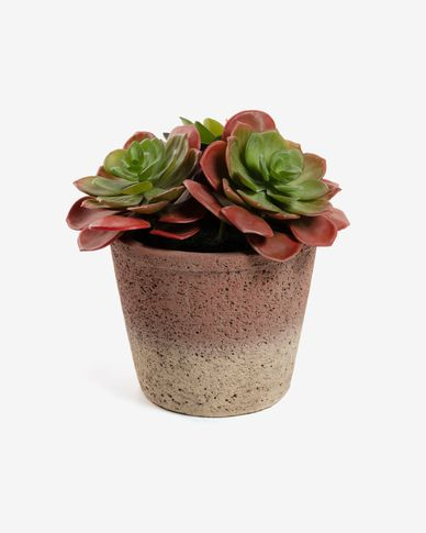 Planta artificial Sinocrassula indica con maceta de cemento 16 cm