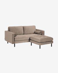 Canapé Debra 2 places avec repose-pieds en velours taupe 182 cm