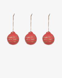 Set Galia de 3 bolas decorativas riscas vermelho