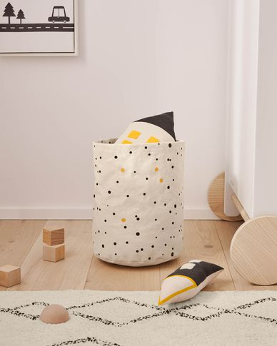 Xiel 100% organic cotton (GOTS) basket with black and yellow polka dots