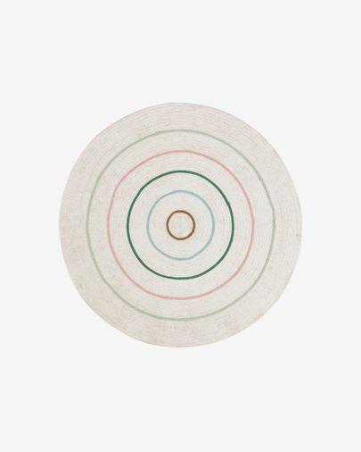 Alfombra redonda Daiana de algodón beige y multicolor Ø 120 cm