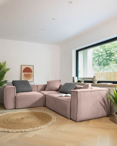 Pink velveteen Blok 4 seater corner sofa 320 x 230 cm
