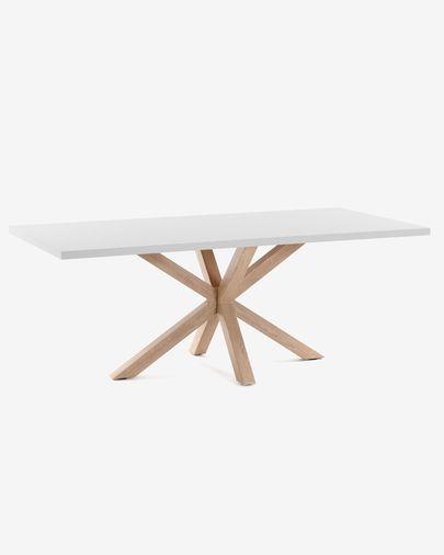 Argo Tisch 160 cm weisses Melamin, Holzeffekt Füße