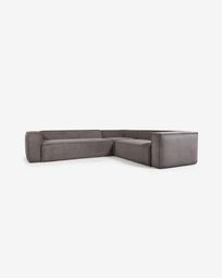 Blok 5-seater corner sofa in grey corduroy, 320 x 290 cm