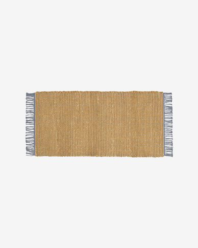 Maily jute and cotton rug in mustard yellow and blue 70 x 140 cm