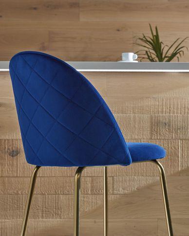 Kruk Ivonne blauw fluweel hoogte 76 cm