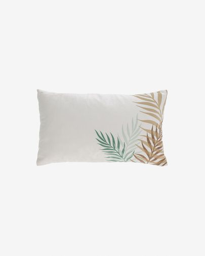 Amorela 100% cotton cushion cover with green leaves 30 x 50 cm