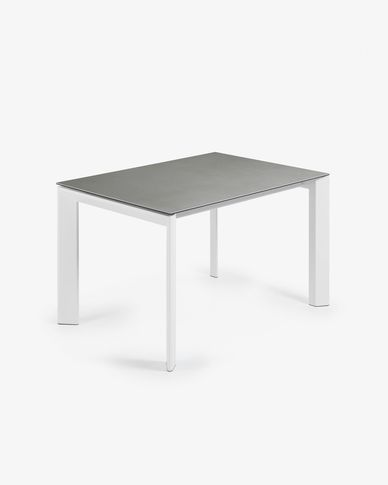 Table extensible Axis 120 (180) cm grès cérame finition Hydra plomb pieds blanc
