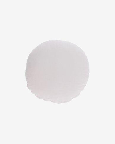 Poszewka na poduszkę Tamanne okrągła 100% len biała Ø 45 cm