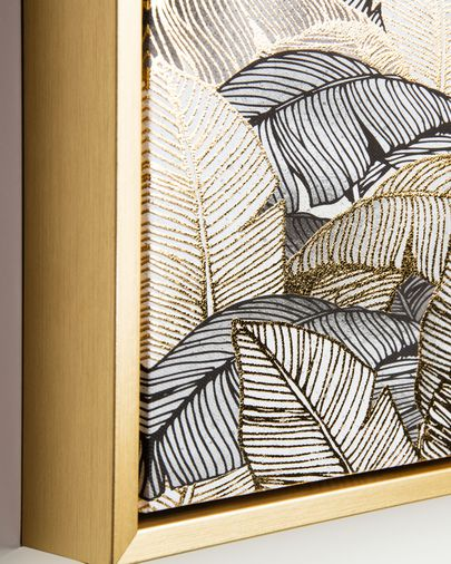 Schilderij Ibisco 40 x 40 cm goud en grijs