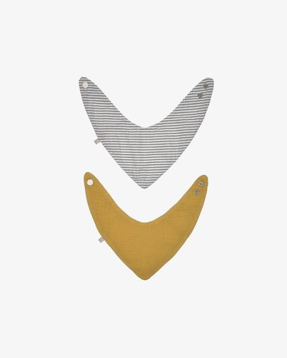 Set of two 100% organic cotton (GOTS) Manon bandanas in mustard yellow and grey stripes